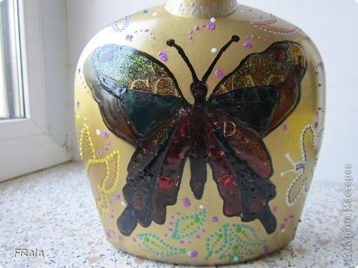 Бутылка с бабочками на юбилей  фото 3