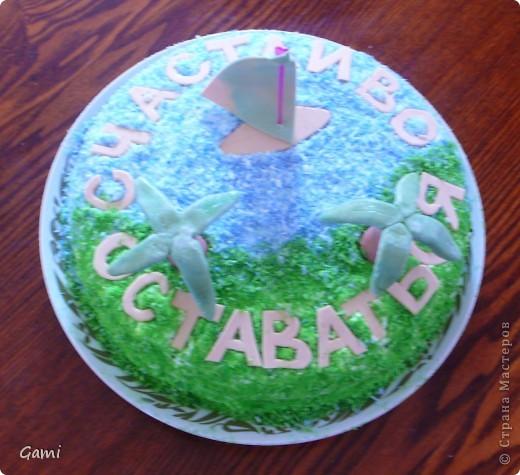 Это самая первая попытка сделать красивый торт. Мастика была покупная марципановая, красители пищевые из пасхальных наборов. \но насыщенных цветов так у меня и не получилось((( фото 3