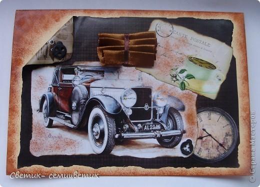 Сделала первую мужскую открытку в стиле Винтаж. Это подарок мужу. фото 1