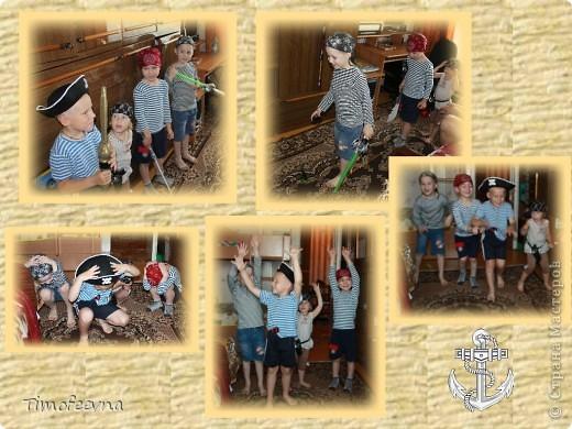 Йо-хо-хо, приветствую всех заглянувших  на огонёк! 25-го июня моему сыну Мише исполнилось 5 лет. Первый юбилей, можно сказать, и хотелось этот праздник отметить как то по особенному. Первая мысль была - день рождение в стиле пиратов, так как пираты, это одна из любимых Мишиных игр, тем для разговоров, рисования, лепки из пластилина и т.д, в общем, любит он пиратов и даже не возникло сомнений в выборе оформления вечеринки. А в помощь, конечно же, пришёл Google, пиратская тема среди мальчишек популярна и там нашлось море ссылок, в конце блога я добавлю те, которые наиболее вдохновили. фото 2