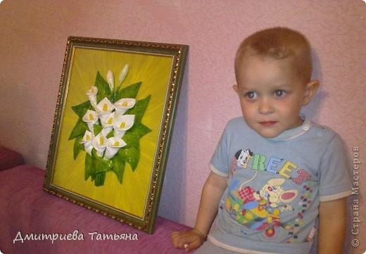 Вот такая картина с каллами у меня получилась, благодаря подробному мастер-классу Мэрисабэльки (http://stranamasterov.ru/node/236898), за что я ей очень благодарна!!!!! фото 4