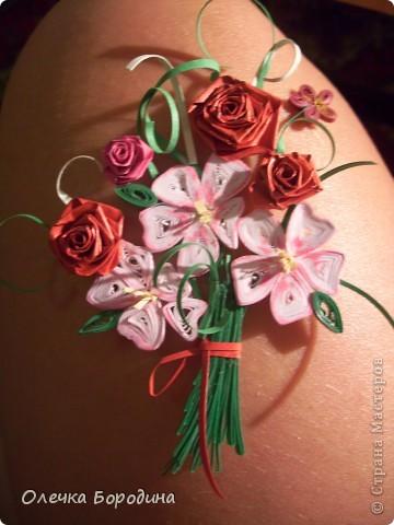 Доброй ночи уважаемые Мастера!делаю панно и вот его маленький элемент-букет цветов.Ну не удержалась я и выкладываю фото. фото 5