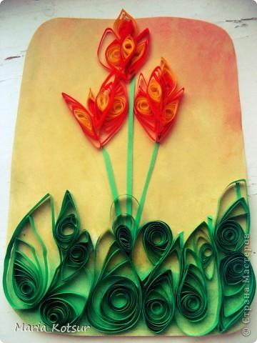 Тюльпаны в технике квиллинг фото 1