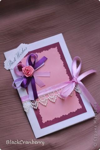 Мини-открыточка. Внутри резной карманчик с листочком для пожеланий. фото 1