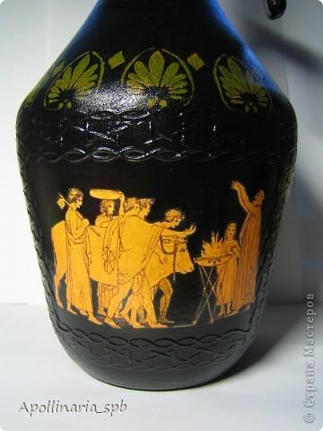 Бутылка-амфора в греческом стиле. Тематика - Троянская война Как только я ее увидела, сразу поняла, должна быть античная тема. Форма и фактура, считай, сделали все за меня. фото 4