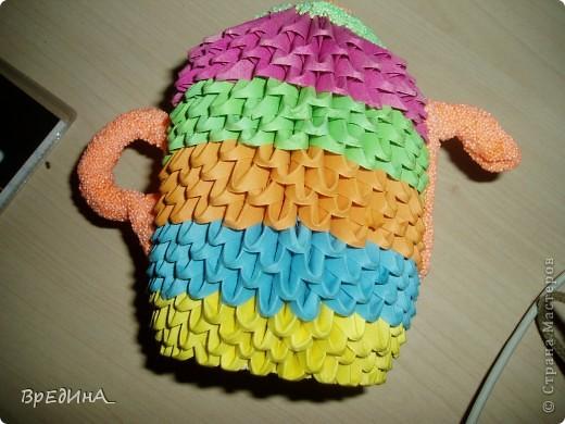 Мой чайничек из модульного оригами с крышечкой, носиком и ручкой из шарикового пластилина. фото 4