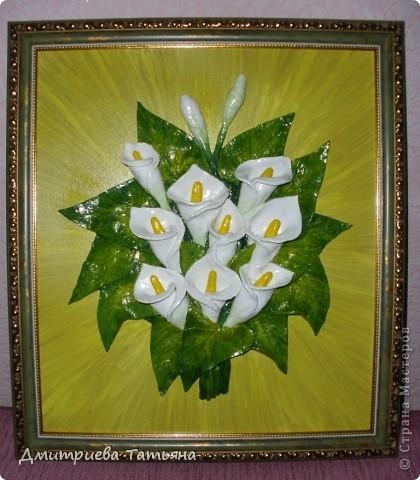 Вот такая картина с каллами у меня получилась, благодаря подробному мастер-классу Мэрисабэльки (http://stranamasterov.ru/node/236898), за что я ей очень благодарна!!!!! фото 1
