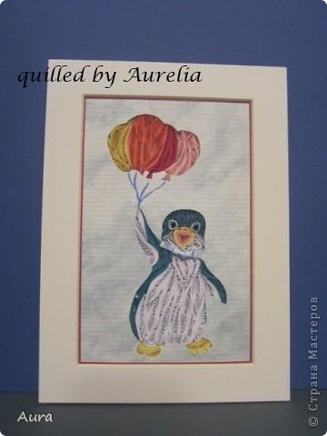 """Есть замечательный старый мультик """" Приключения пингвинёнка Лоло"""" - я всомнила о нем когда решала, какого же """"зверя"""" квиллингнуть:)) Я давно засматриваюсь на работы Сандры Уайт - http://quillingbysandrawhite.mysupadupa.com/ - и вот, решила попробовать! Техника защищена авторским правом, потому отмечаю: Работа предназначена только для личного пользования.  Понравилось работать, хоть поначалу немного непривычно было выходить за контуры рисунка:))  фото 3"""