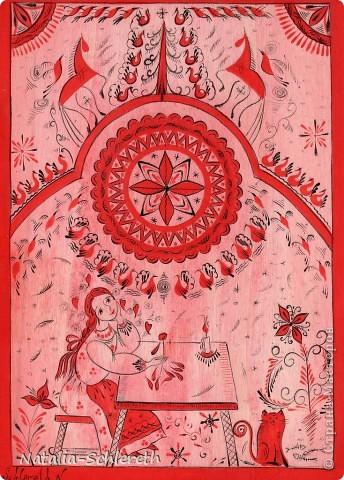 Мезенская роспись. Выполнено на фанере размером 15х21 см (половина офисного листа бумаги) акрилом и темперой