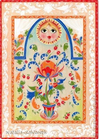 Окно в сказочный мир. Борецкая роспись.Выполнена на фанере-размер-Формат А4 акрилом и темперой.