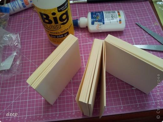 """Это мой первый мастер-класс, вернее даже просто """"репортаж"""" о том как я бысто и дешево делаю блоки для записей. Я использую для блоков разные материалы - остатки от предыдущих работ просто потому что не люблю выбрасывать ни сантиметра бумаги =) фото 6"""