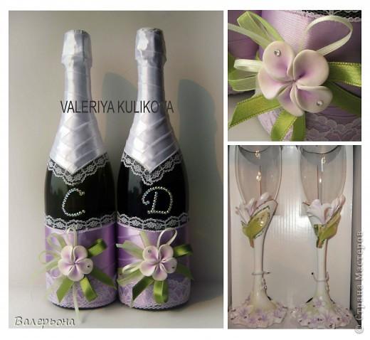 свадебные бутылочки  к заводским фужерам