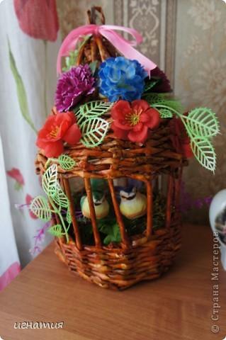 Решила попробовать сплести клетку или беседку:)))))))))),вот что из этого вышло приурочила ее к празднику,чтоб наша семья была всегда неразлучна как эти птички. фото 1