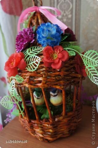 Решила попробовать сплести клетку или беседку:)))))))))),вот что из этого вышло приурочила ее к празднику,чтоб наша семья была всегда неразлучна как эти птички. фото 4
