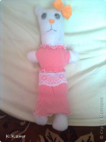Это киса появилась у меня 2 часа назад. Пока одежды у неё не много но хочу ещё платье сшить. фото 2