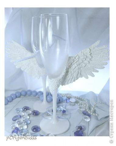 Крылья из Фимо классик бокалы тонированы акриловой краской жемчужного цвета фото 1