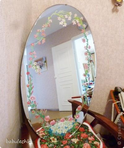 Зеркало большое овальное,роспись акриловыми красками. фото 1