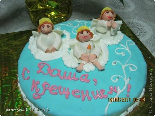 Доброго всем времени суток!!! Я опять с тортиками...Заказали тортик на крещение маленькой девочки и вот на просторах нашей страны я увидела тортик с ангелочками и вот что у меня получилось... фото 1