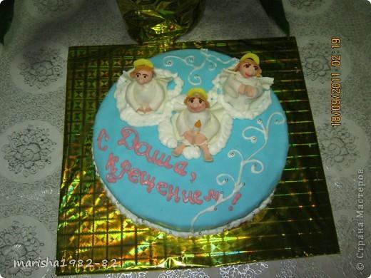 Доброго всем времени суток!!! Я опять с тортиками...Заказали тортик на крещение маленькой девочки и вот на просторах нашей страны я увидела тортик с ангелочками и вот что у меня получилось... фото 7