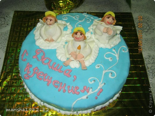 Доброго всем времени суток!!! Я опять с тортиками...Заказали тортик на крещение маленькой девочки и вот на просторах нашей страны я увидела тортик с ангелочками и вот что у меня получилось... фото 2
