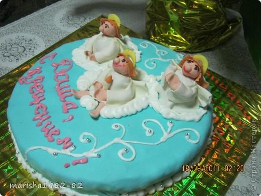 Доброго всем времени суток!!! Я опять с тортиками...Заказали тортик на крещение маленькой девочки и вот на просторах нашей страны я увидела тортик с ангелочками и вот что у меня получилось... фото 4