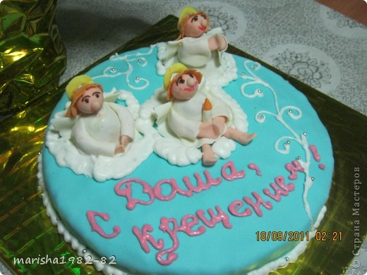 Доброго всем времени суток!!! Я опять с тортиками...Заказали тортик на крещение маленькой девочки и вот на просторах нашей страны я увидела тортик с ангелочками и вот что у меня получилось... фото 5
