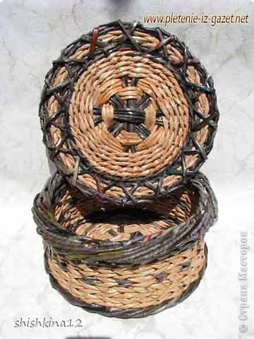 Видео мастер-класс по плетению из газет круглого дна фото 3
