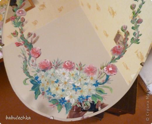 Зеркало большое овальное,роспись акриловыми красками. фото 2