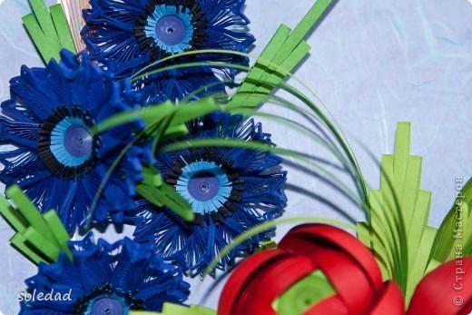 Грядущему Дню Семьи посвящается.  Ромашка символ любви и семьи. Василек - святости, уважения, нежности. Пшеница - богатства и жизни. Мак - плодородия.  Подумала я и решила объединить эти прекрасные цветы вот в такую композицию. фото 3