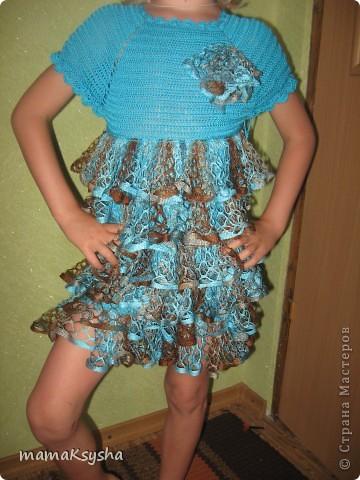 Платье   связанно пряжей EGIO YARNA, а низ- ленточная пряжа LACE KARTOPY. фото 1