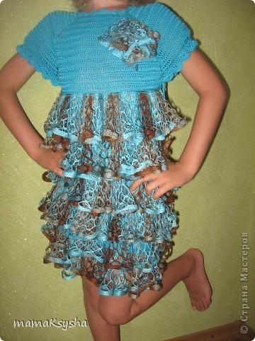 Платье   связанно пряжей EGIO YARNA, а низ- ленточная пряжа LACE KARTOPY. фото 3
