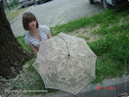 Зонтик для невесты, авторская работа, связано вручную в одном экземпляре, диаметр купола до 100см фото 7