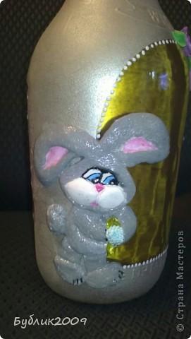 2-ая моя бутылочка. Делала от души. Девочке на день рождения - зовут Залина. Вот и получился или нет - такой зайка! фото 2