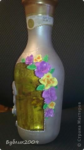 2-ая моя бутылочка. Делала от души. Девочке на день рождения - зовут Залина. Вот и получился или нет - такой зайка! фото 3