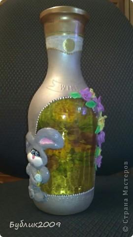 2-ая моя бутылочка. Делала от души. Девочке на день рождения - зовут Залина. Вот и получился или нет - такой зайка! фото 1