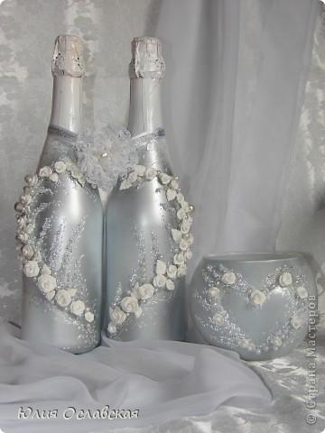 """Давно делала и совсем забыла выложить))) Бутылки к бокалам """"Весенние"""" http://stranamasterov.ru/node/321799 фото 5"""