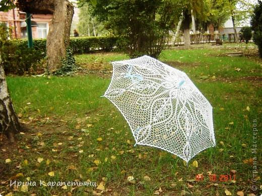 Зонтик для невесты, авторская работа, связано вручную в одном экземпляре, диаметр купола до 100см фото 8