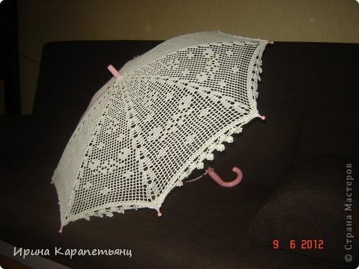 Зонтик для невесты, авторская работа, связано вручную в одном экземпляре, диаметр купола до 100см фото 10