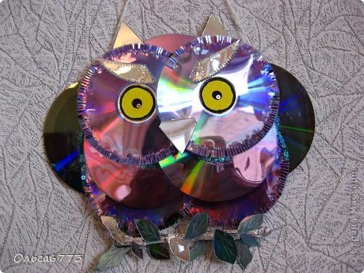Поделка из диском сова