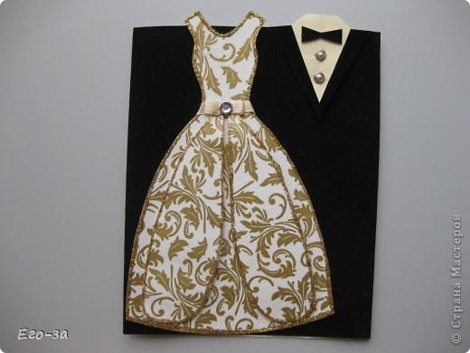 """Представляю вашему вниманию вариант оформления открытки (альбомчика) на свадебную тематику. Платье и фрак с элементами 3D, """"ткань"""" у платья из салфетки, рисунок продублирован акриловой краской с серебром. фото 6"""