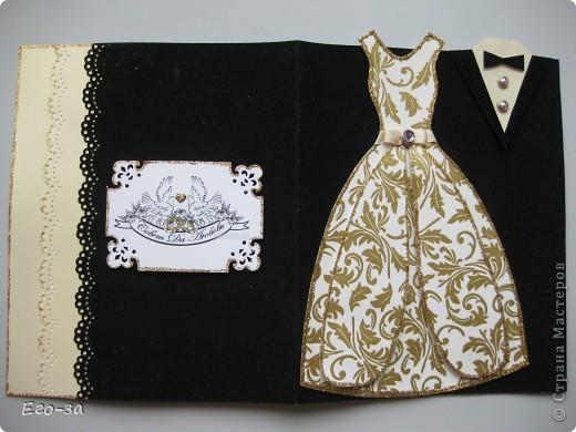"""Представляю вашему вниманию вариант оформления открытки (альбомчика) на свадебную тематику. Платье и фрак с элементами 3D, """"ткань"""" у платья из салфетки, рисунок продублирован акриловой краской с серебром. фото 7"""