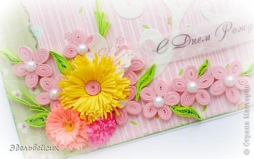 Вот такая нежная летняя открыточка))))) Цветочки в технике квиллинг, надпись на кальке, вырубка))) фото 2