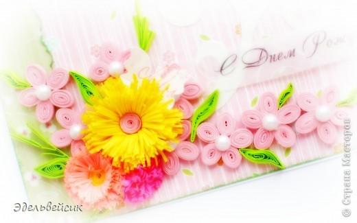 Вот такая нежная летняя открыточка))))) Цветочки в технике квиллинг, надпись на кальке, вырубка))) фото 3