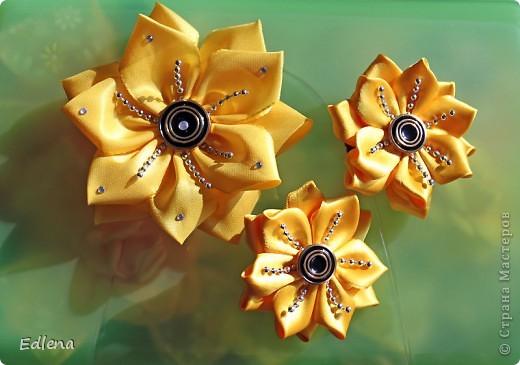 Вообще то хотела подсолнухи увиденные у bog-in-ya http://stranamasterov.ru/node/386986, а получились такие вот цветочки)) Это набор, заколка и две резиночки).. фото 1