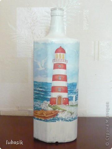 Вот и доделала Я свою третью морскую бутылочку. Показываю вам результат. Простите, но фоток будет много. Сама люблю рассмотреть все детали как следует. фото 10