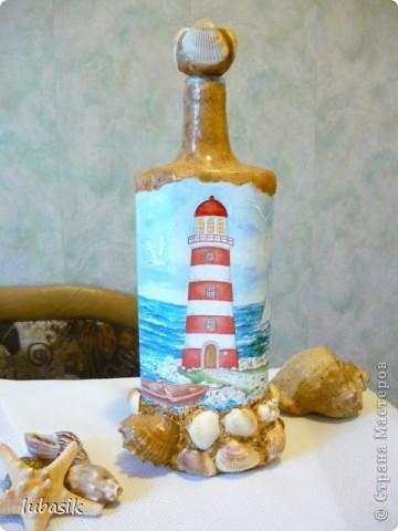 Вот и доделала Я свою третью морскую бутылочку. Показываю вам результат. Простите, но фоток будет много. Сама люблю рассмотреть все детали как следует. фото 1