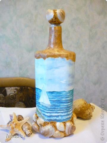 Вот и доделала Я свою третью морскую бутылочку. Показываю вам результат. Простите, но фоток будет много. Сама люблю рассмотреть все детали как следует. фото 2
