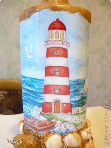Вот и доделала Я свою третью морскую бутылочку. Показываю вам результат. Простите, но фоток будет много. Сама люблю рассмотреть все детали как следует. фото 6