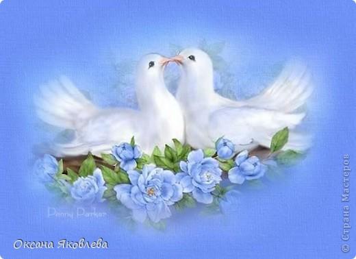 Увидев эту картинку, у меня родилась идея сделать таких голубей на свадьбу))) фото 1