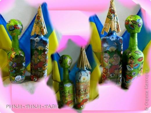Мы любим футбол всей семьей! В честь Евро-2012 оформила пару бутылочек))) Что получилось, смотрите сами фото 3